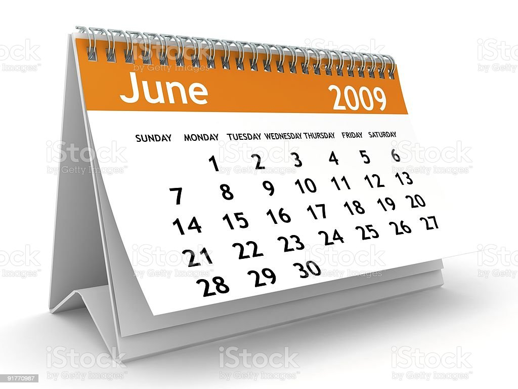 June 2009 - Orange Calendar series royalty-free stock photo