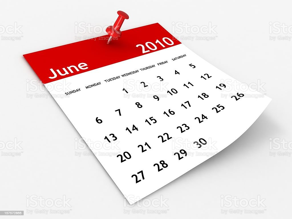 June 2010 - Calendar series royalty-free stock photo