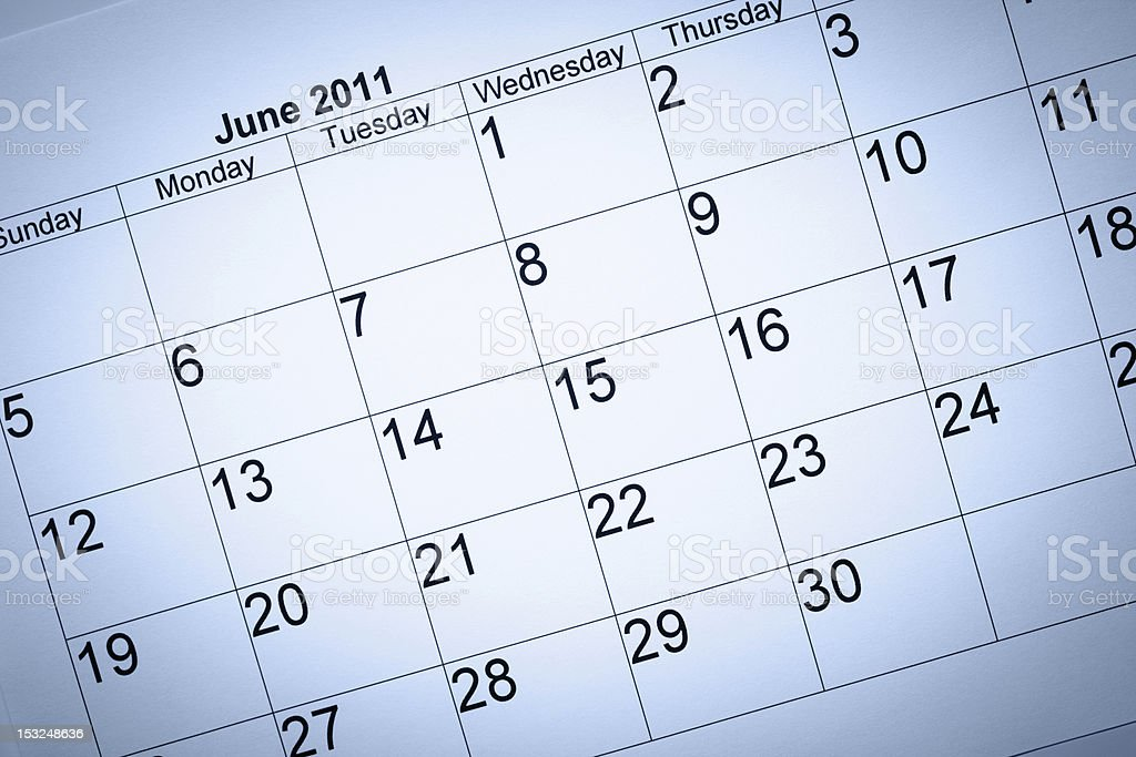 June 2011 calendar royalty-free stock photo