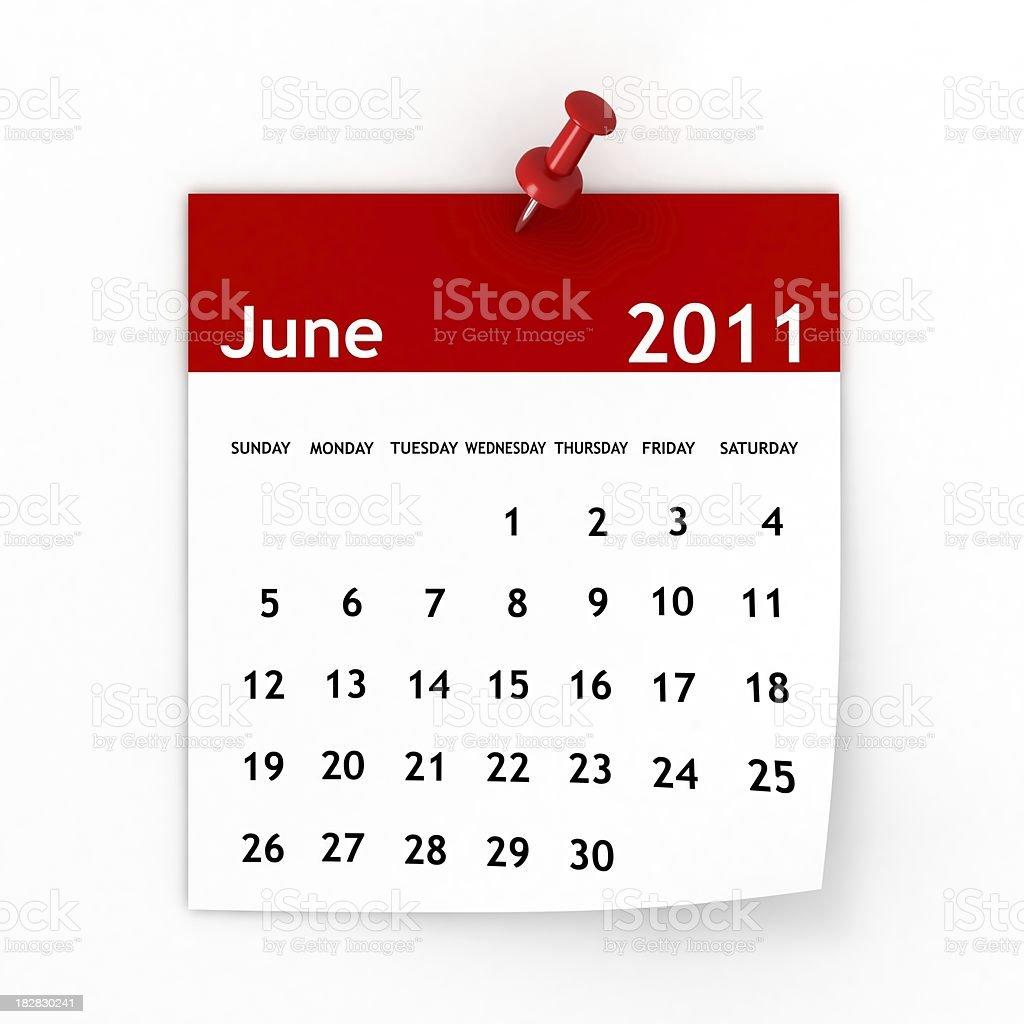 June 2011 - Calendar series royalty-free stock photo