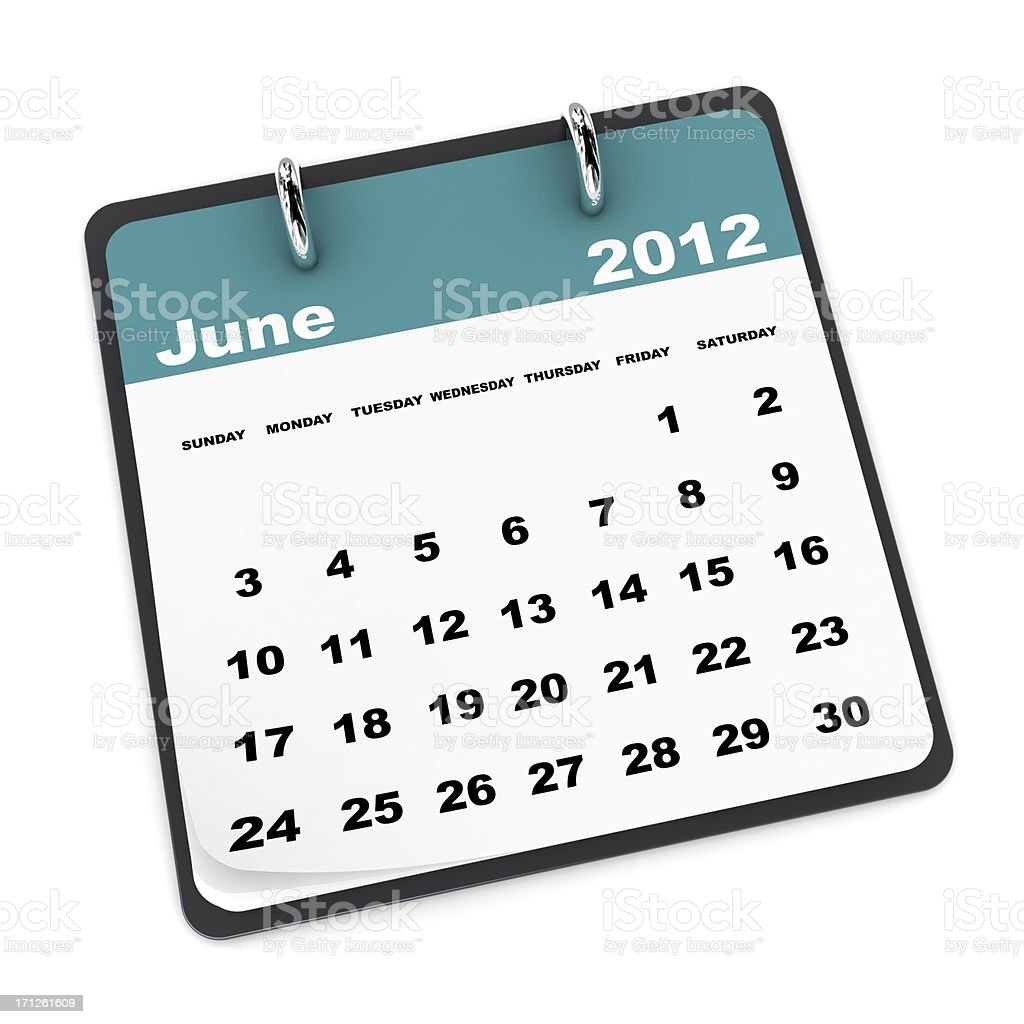 June 2012 Calendar royalty-free stock photo
