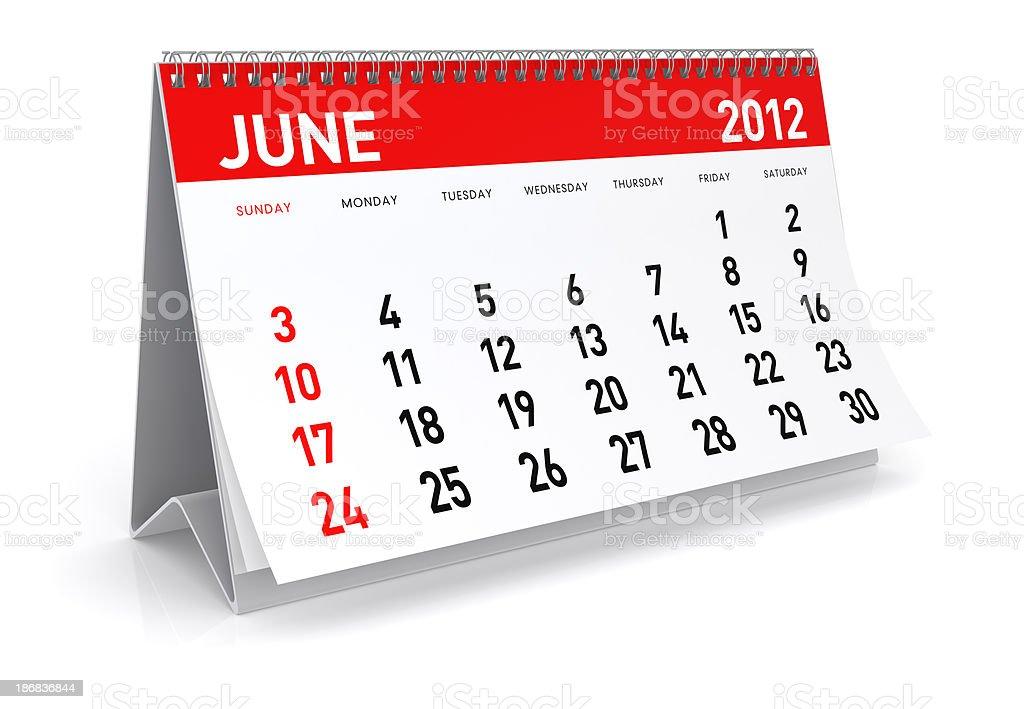 June 2012 - Calendar royalty-free stock photo