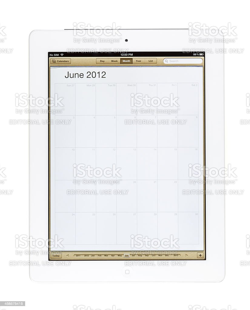 June 2012 Calender on New Ipad royalty-free stock photo