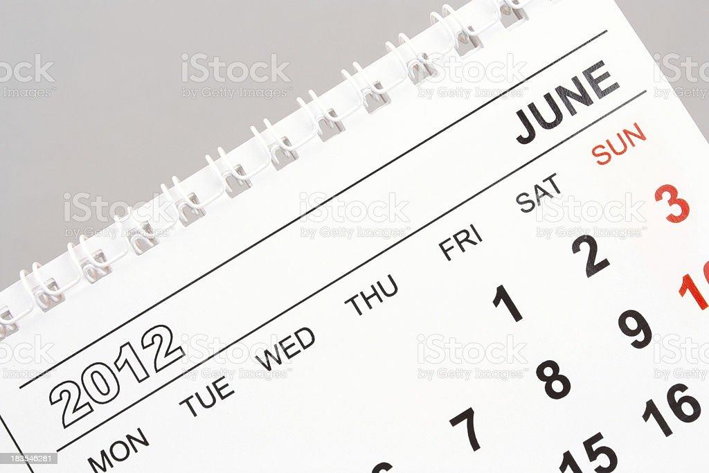June 2012 royalty-free stock photo