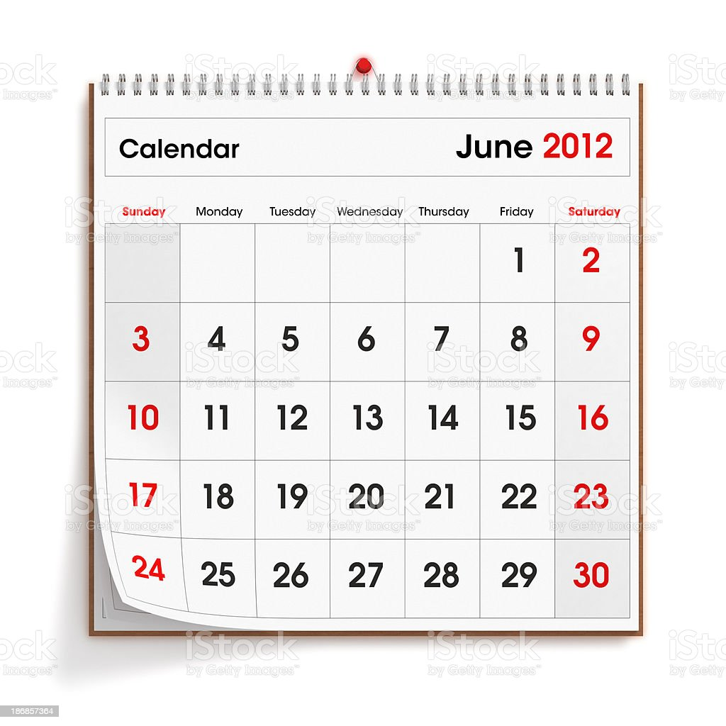 June 2012 Wall Calendar royalty-free stock photo