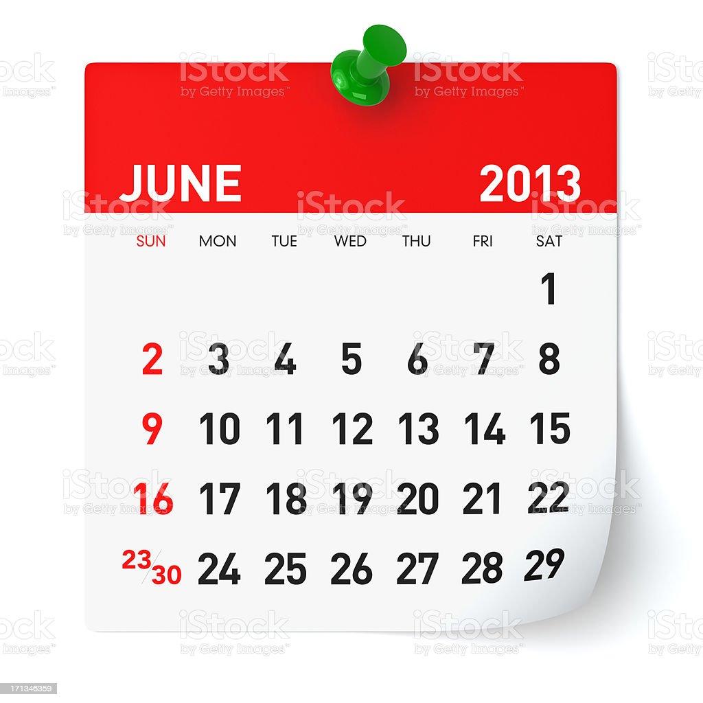 June 2013 - Calendar stock photo