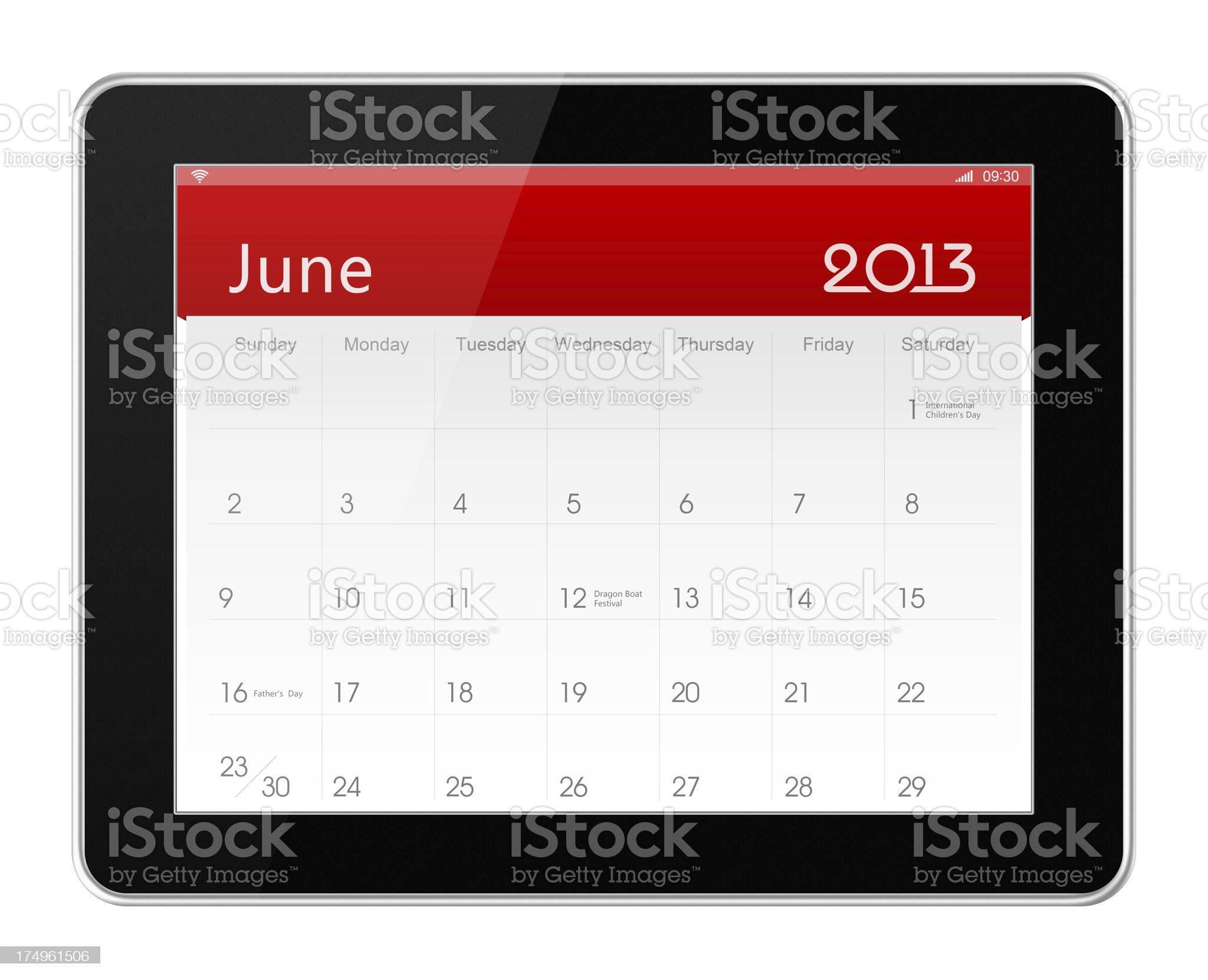 June 2013 Calender on digital tablet royalty-free stock photo