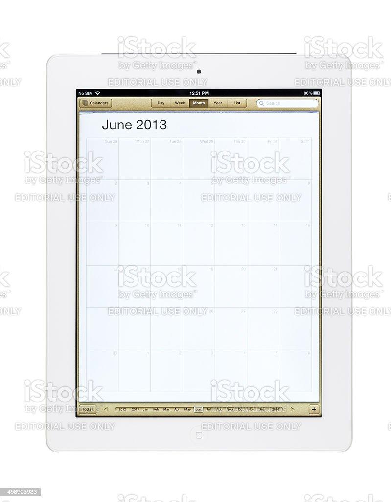 June 2013 Calender on New Ipad royalty-free stock photo