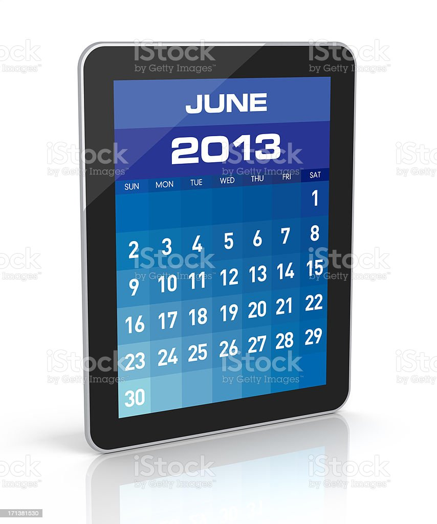 June 2013 - Tablet Calendar royalty-free stock photo