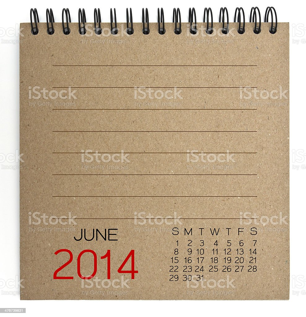June 2014 Calendar brown Texture Paper royalty-free stock photo