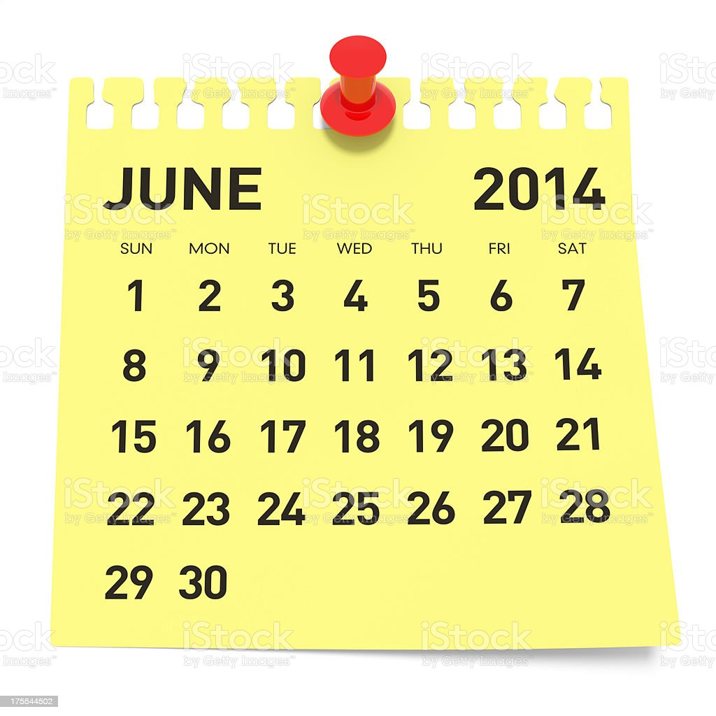 June 2014 - Calendar stock photo
