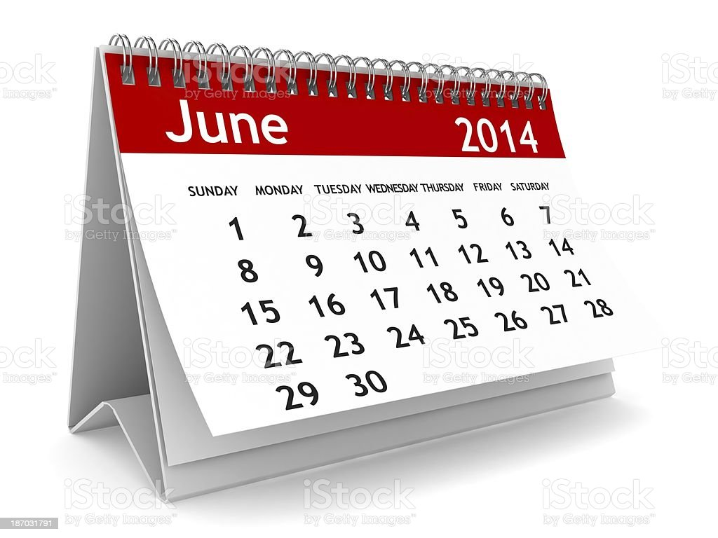 June 2014 calendar view royalty-free stock photo