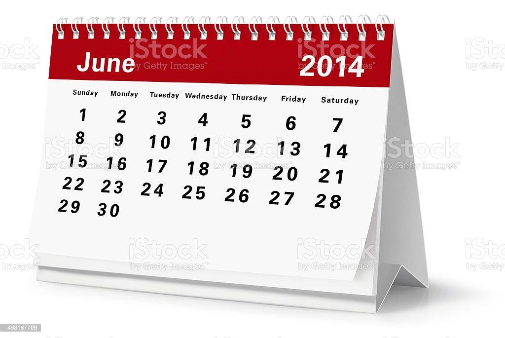 June - 2014 Desktop Calendar (Clipping Path) royalty-free stock photo
