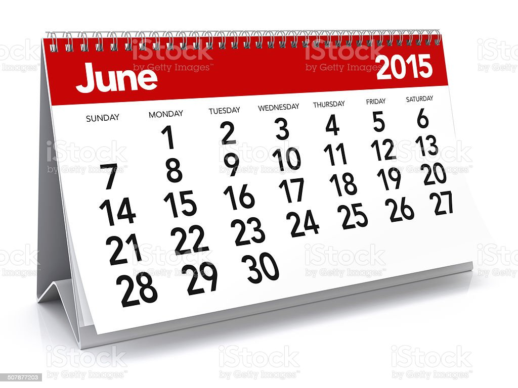June 2015 - Calendar stock photo