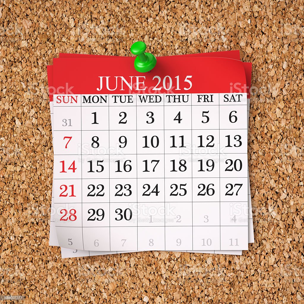 June 2015  Calendar stock photo