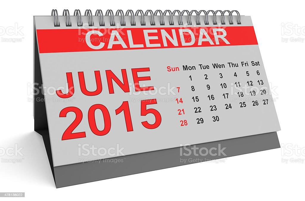 June 2015, desk calendar stock photo