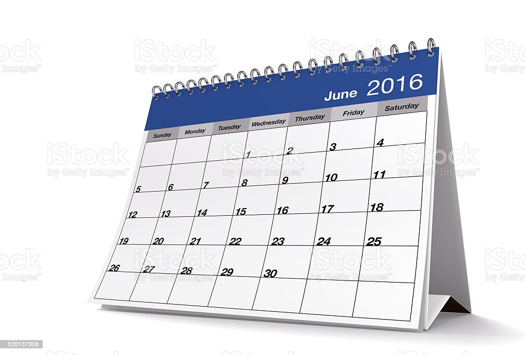 June 2016 Blue Desktop Calendar on Isolated White Background stock photo
