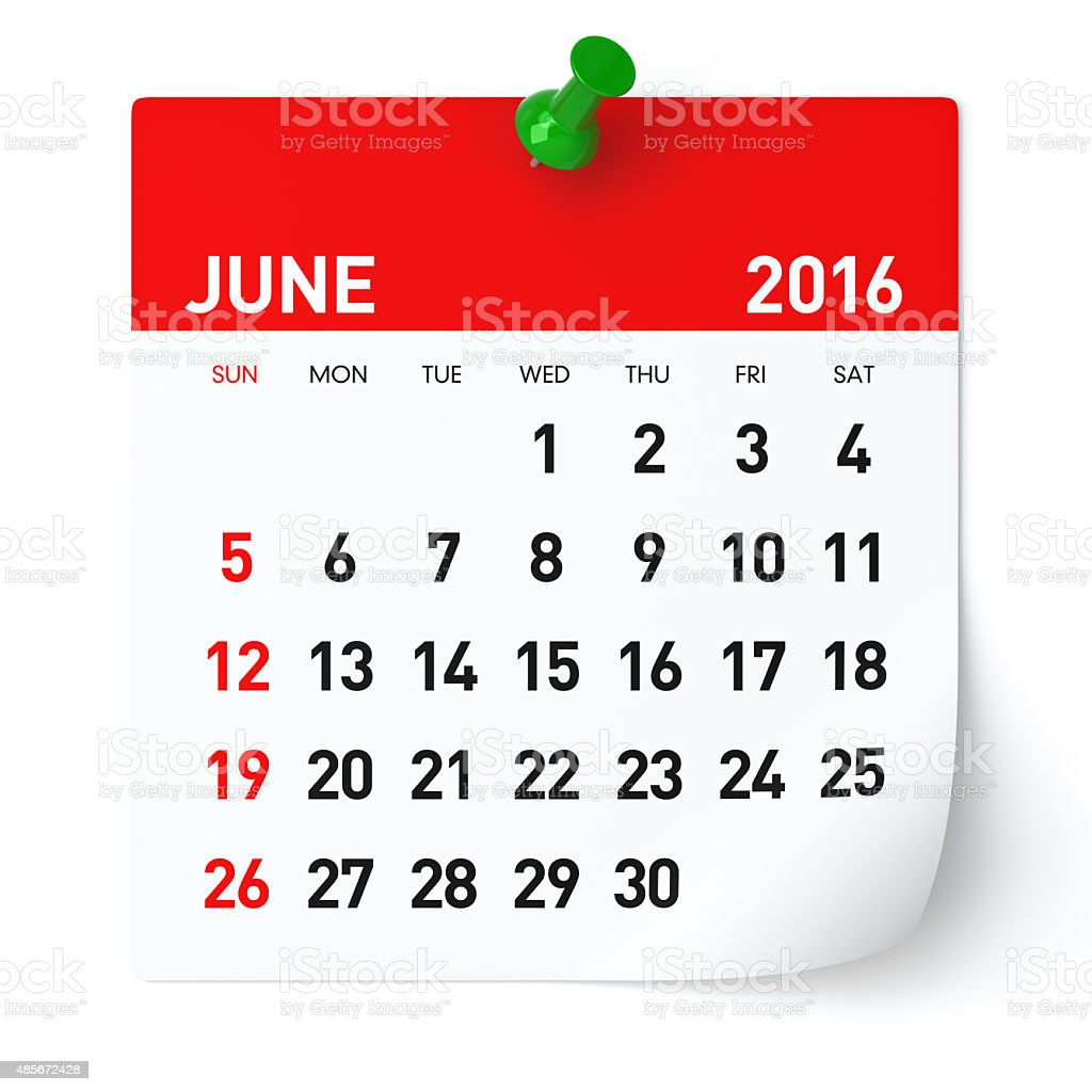 June 2016 - Calendar. stock photo