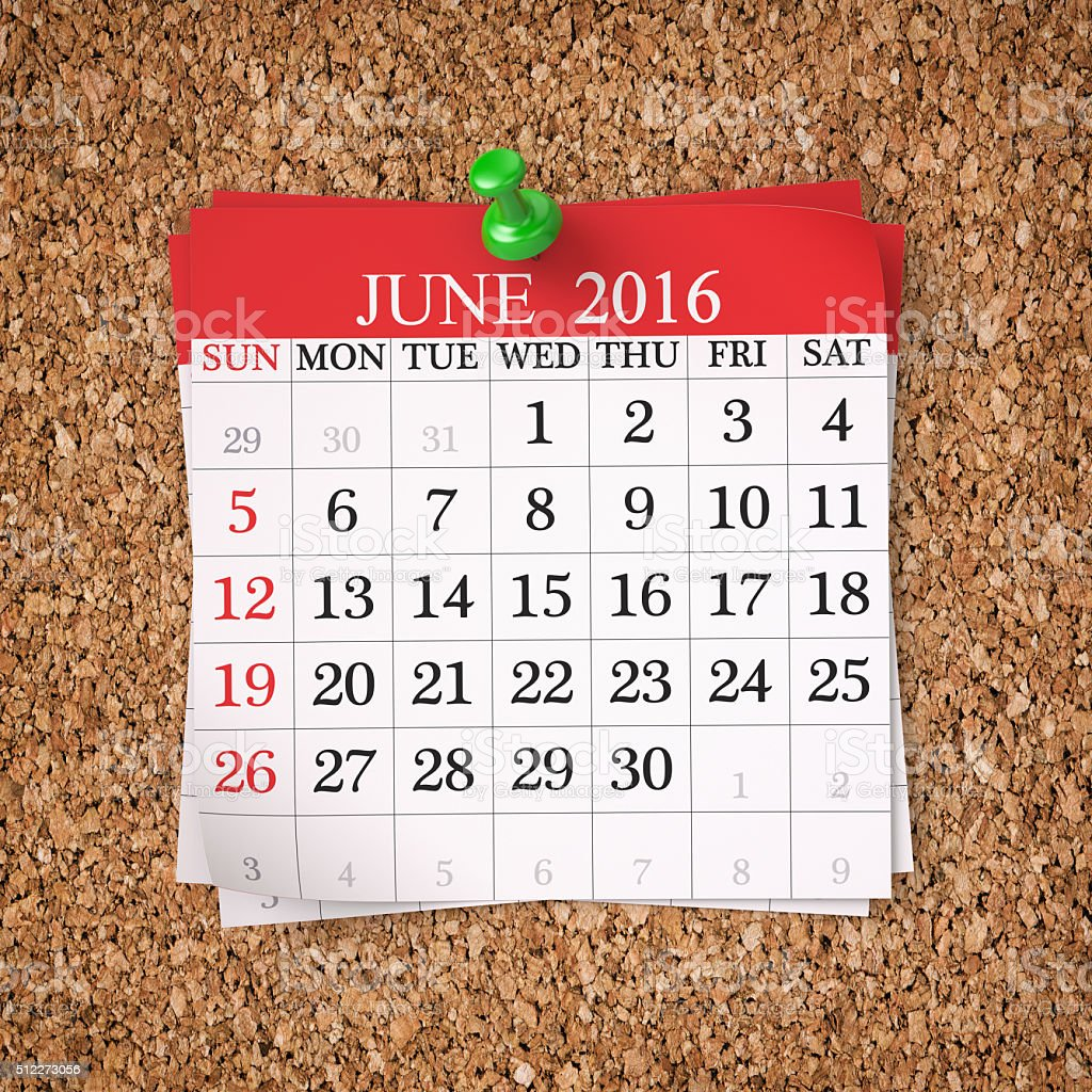 June 2016  Calendar stock photo