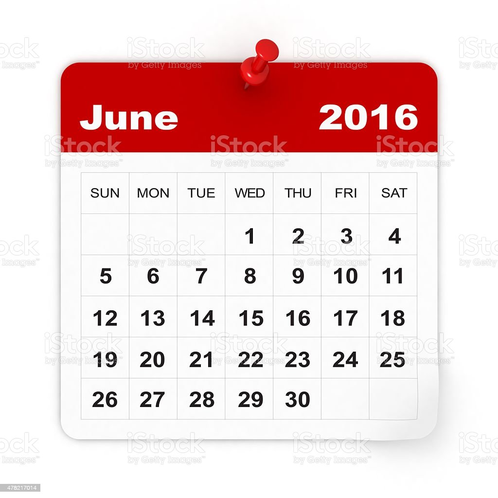 June 2016 - Calendar series stock photo