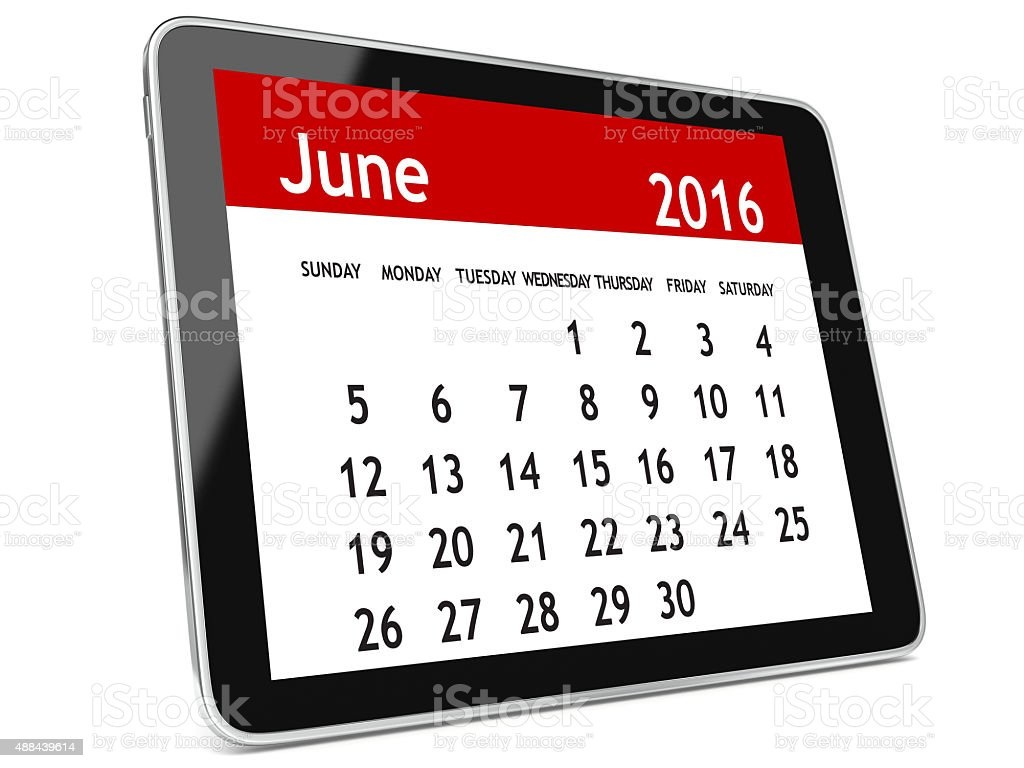 June 2016 calendar tablet stock photo