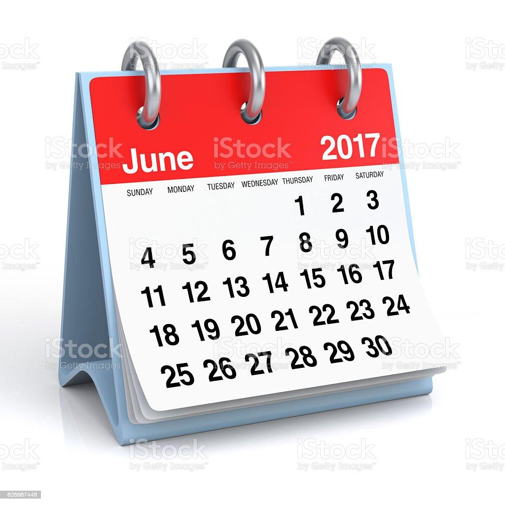 June 2017 - Desktop Spiral Calendar. stock photo