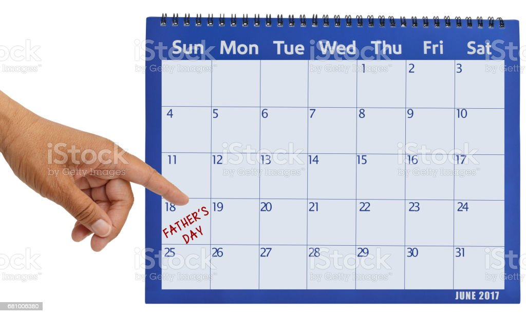 June 2017Calendar Hand Pointing to Father's Day stock photo