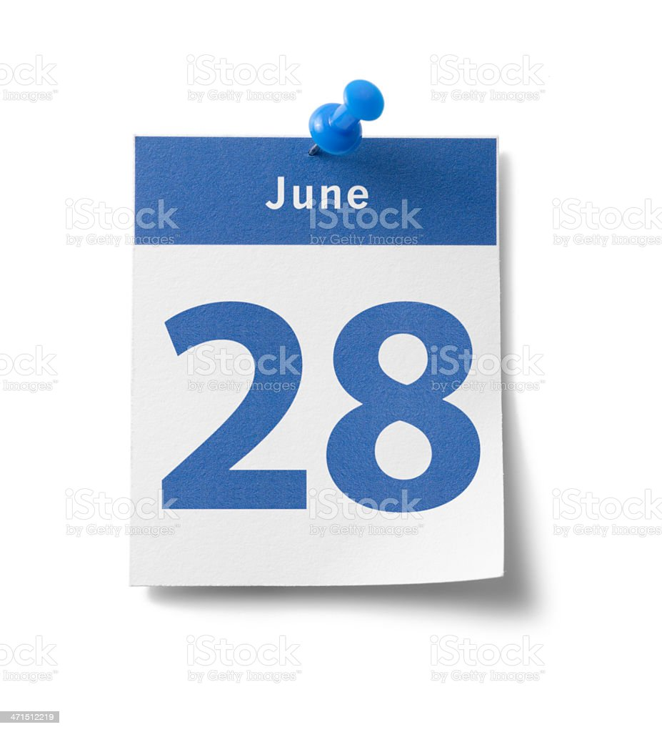 June 28th stock photo