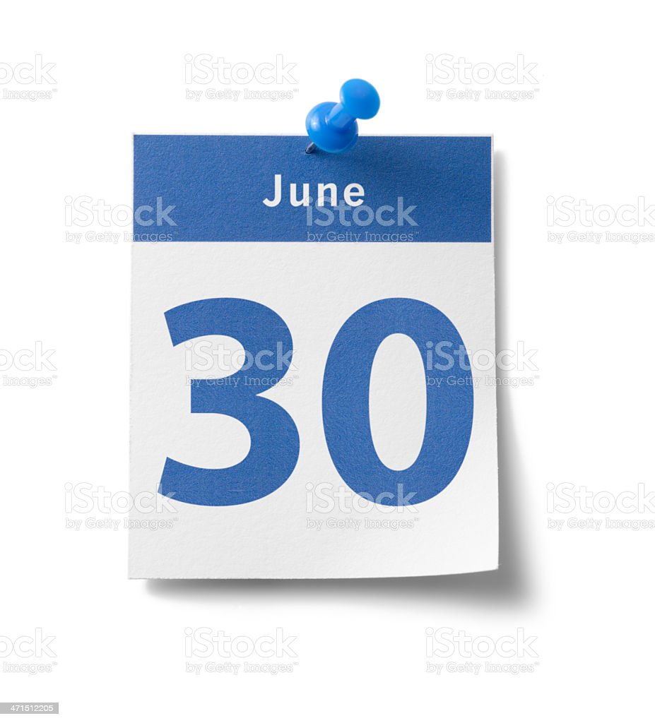 June 30th stock photo