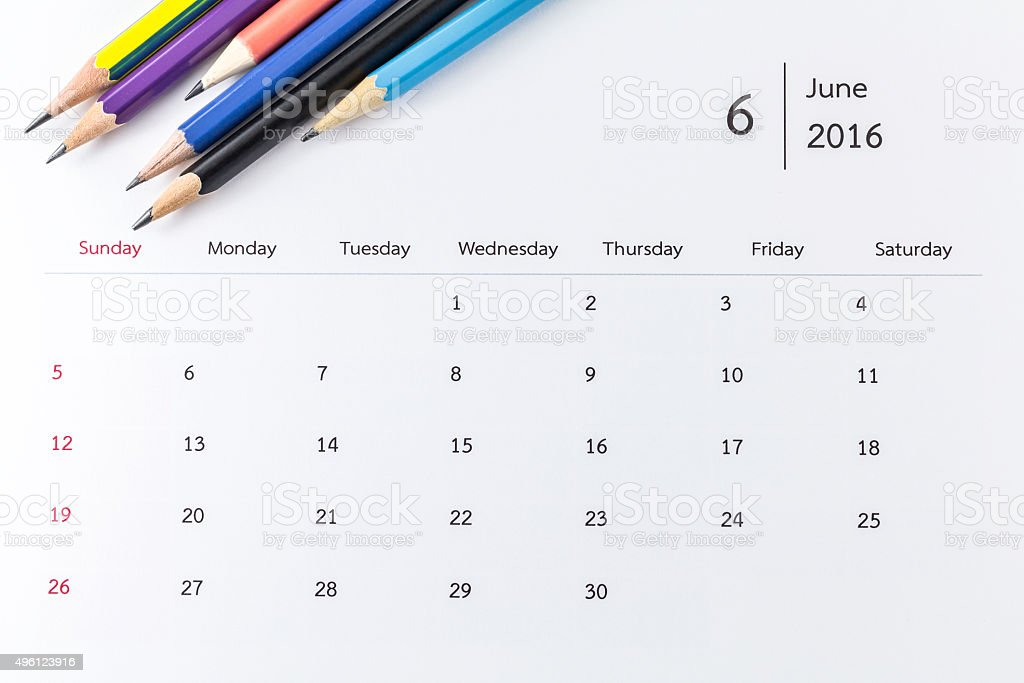 June calendar 2016 with pencils stock photo