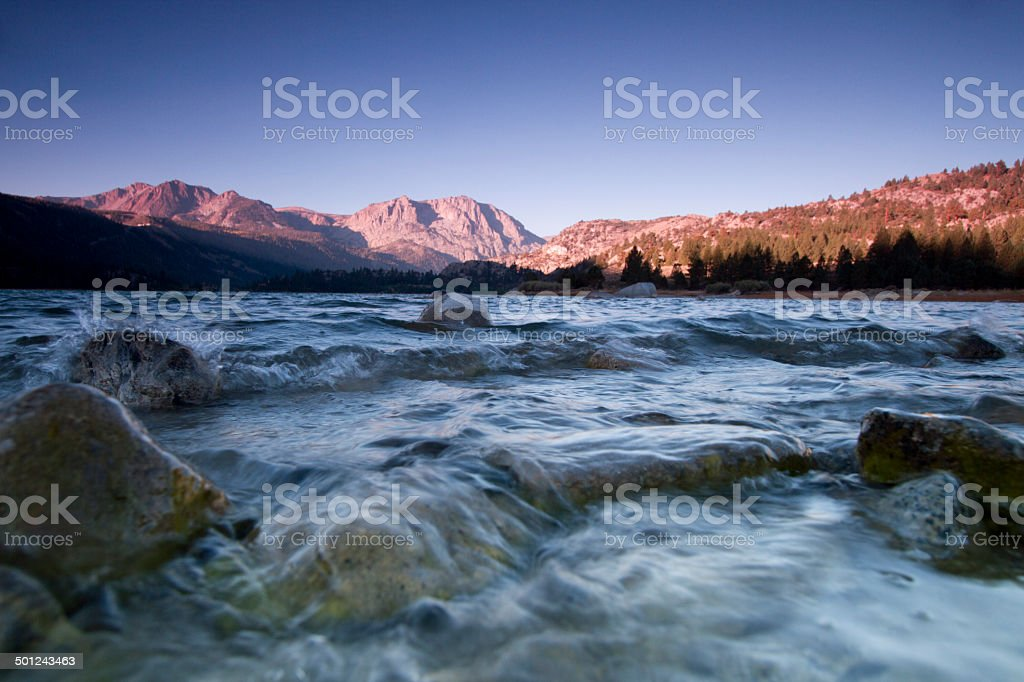 June Lake Shore at Sunrise stock photo