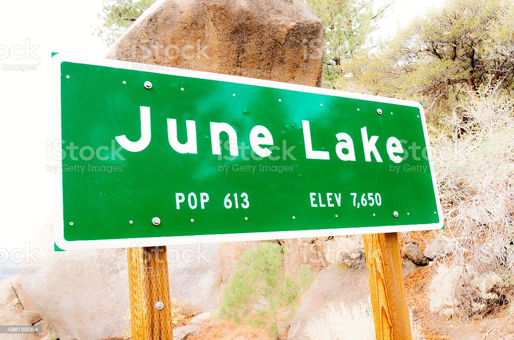 June Lake village sign, Sierra Nevada, California stock photo
