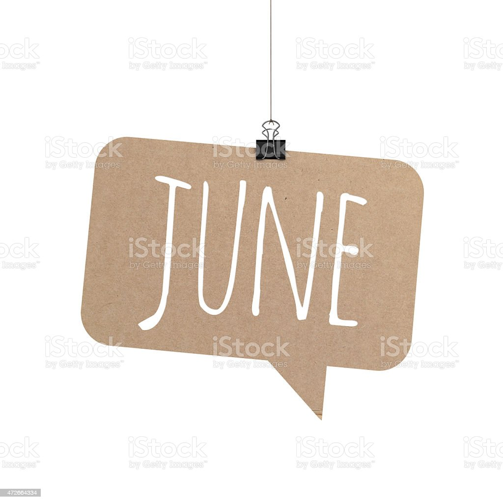 June speech bubble hanging on a string stock photo