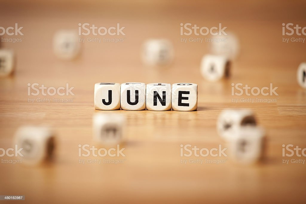 June Spelled In Letter Cubes royalty-free stock photo