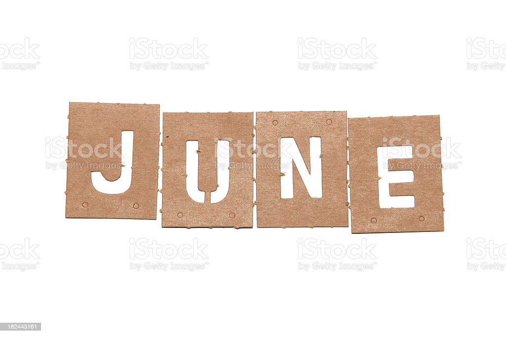 June stencil word stock photo
