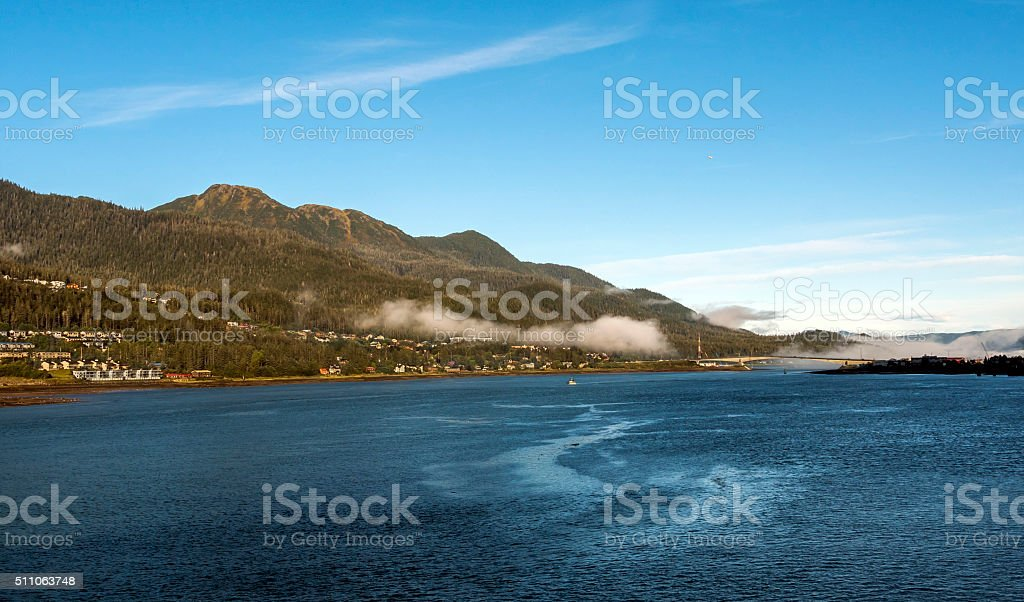 Juneau Alaska Bridge and Douglas Island stock photo