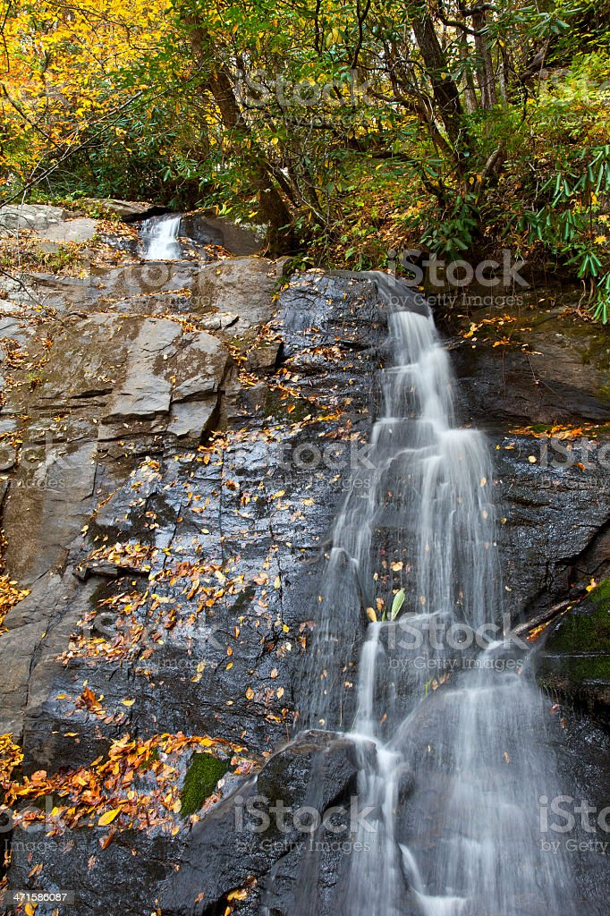 Juney Whank Falls with Fall Foliage stock photo