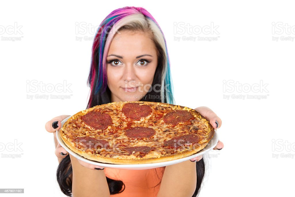 junge Frau mit Pizza stock photo