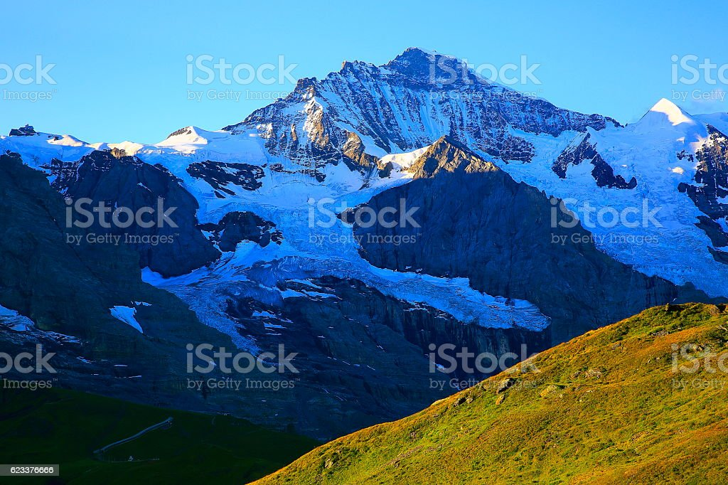 Jungfrau above Grindelwald valley sunrise, Bernese Oberland, Swiss Alps stock photo