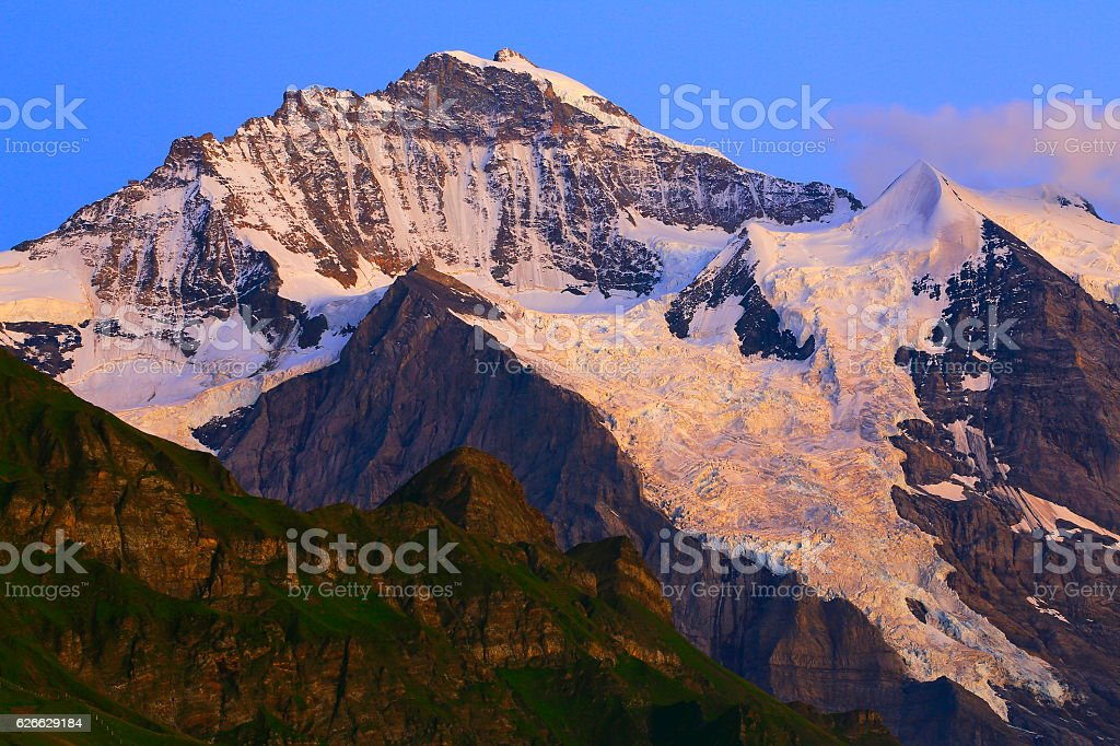 Jungfrau, above lauterbrunnen and Grindelwald, Bernese Oberland, Swiss Alps stock photo