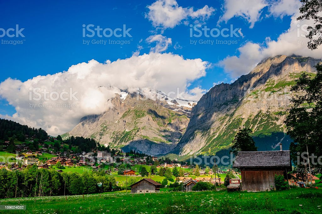 Jungfrau and Grindelwald Village in Berner Oberland, Switzerland royalty-free stock photo