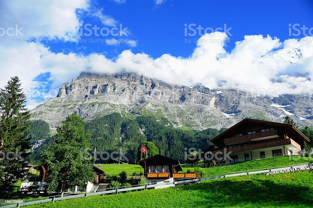 Jungfrau and Grindelwald Village in Berner Oberland, Switzerland royalty-free stock photo
