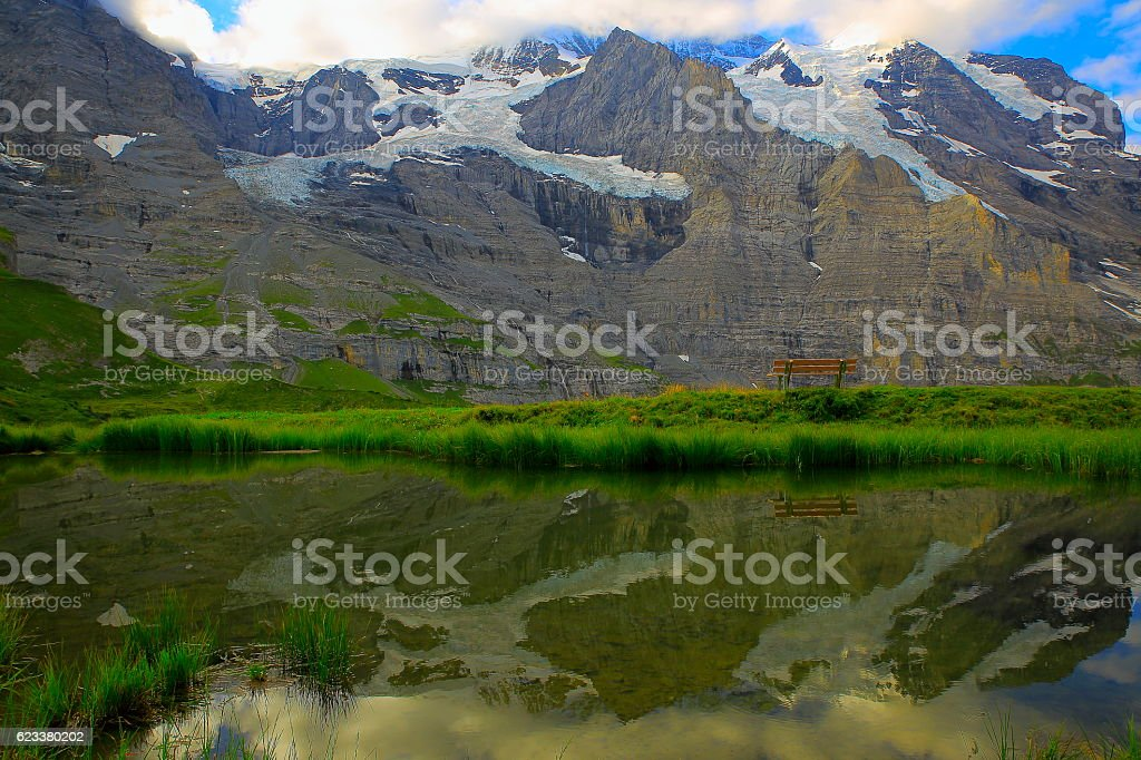 Jungfrau and lake reflection relax landscape, Bernese Oberland, Swiss Alps stock photo
