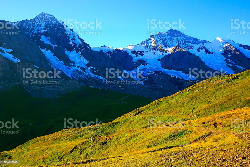 Jungfrau and Monch above Grindelwald, Bernese Oberland, Swiss Alps stock photo