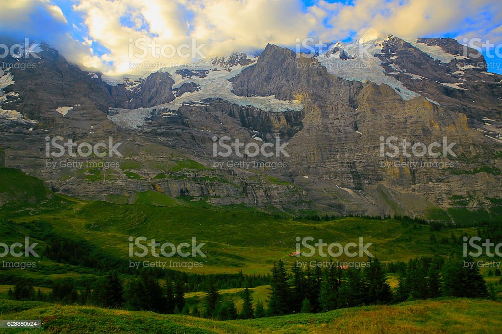 Jungfrau massif above Lauterbrunnen valley, Bernese Oberland, Swiss Alps stock photo