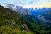 Jungfrau massif dawn, above lauterbrunnen valley, Bernese Oberland, Swiss Alps
