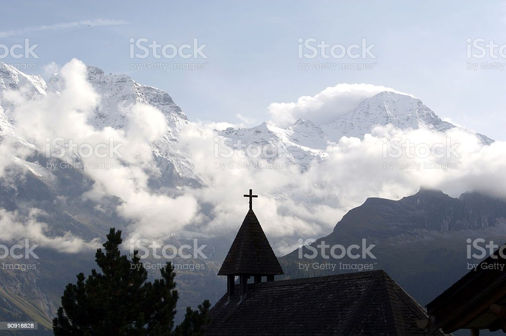Jungfrau Mountain From the Village of Murren Switzerland royalty-free stock photo