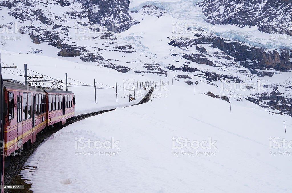 Jungfrau railway from Kleine Scheidegg to Jungfraujoch. stock photo