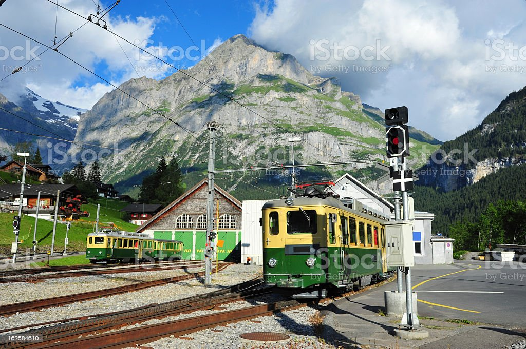 Jungfrau Bahn in Grindelwald Village Railwaystation, Switzerland stock photo