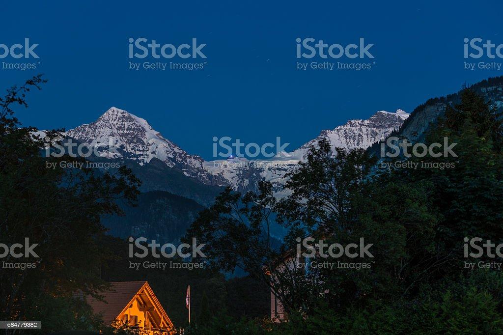 Jungfrau, Switzerland, after sunset stock photo